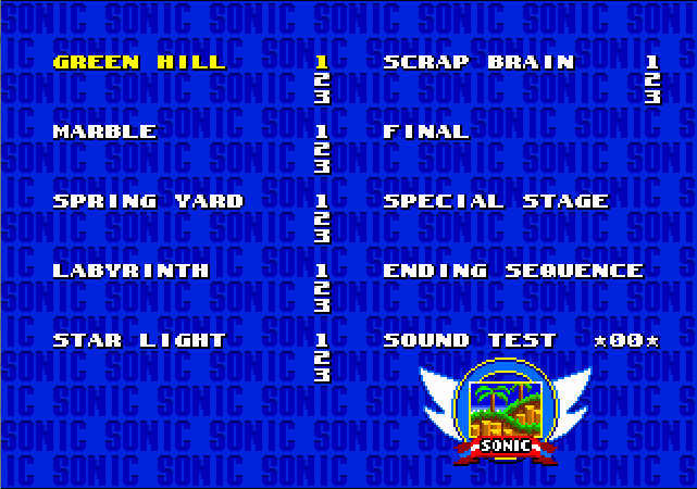 Sonic 2 Level Select in Sonic 1 AS.PNG